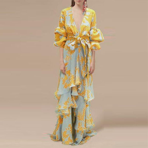 Sexy Deep V Neck Floral Printed Lantern Sleeve Maxi Dress