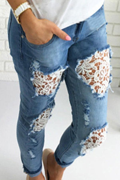 Broken Holes Lace Casual Jeans