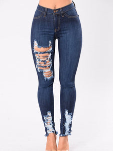 Ripped Light Wash Slim-Leg Mid-Rise Pants