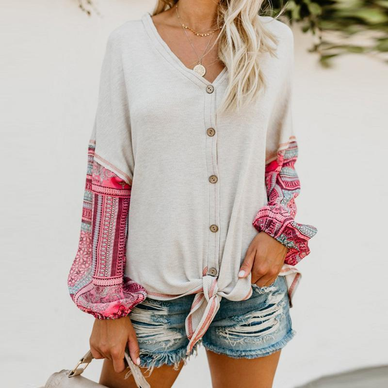 Fashion Patchwork Long Sleeve V Neck Button Lace Up T-Shirt
