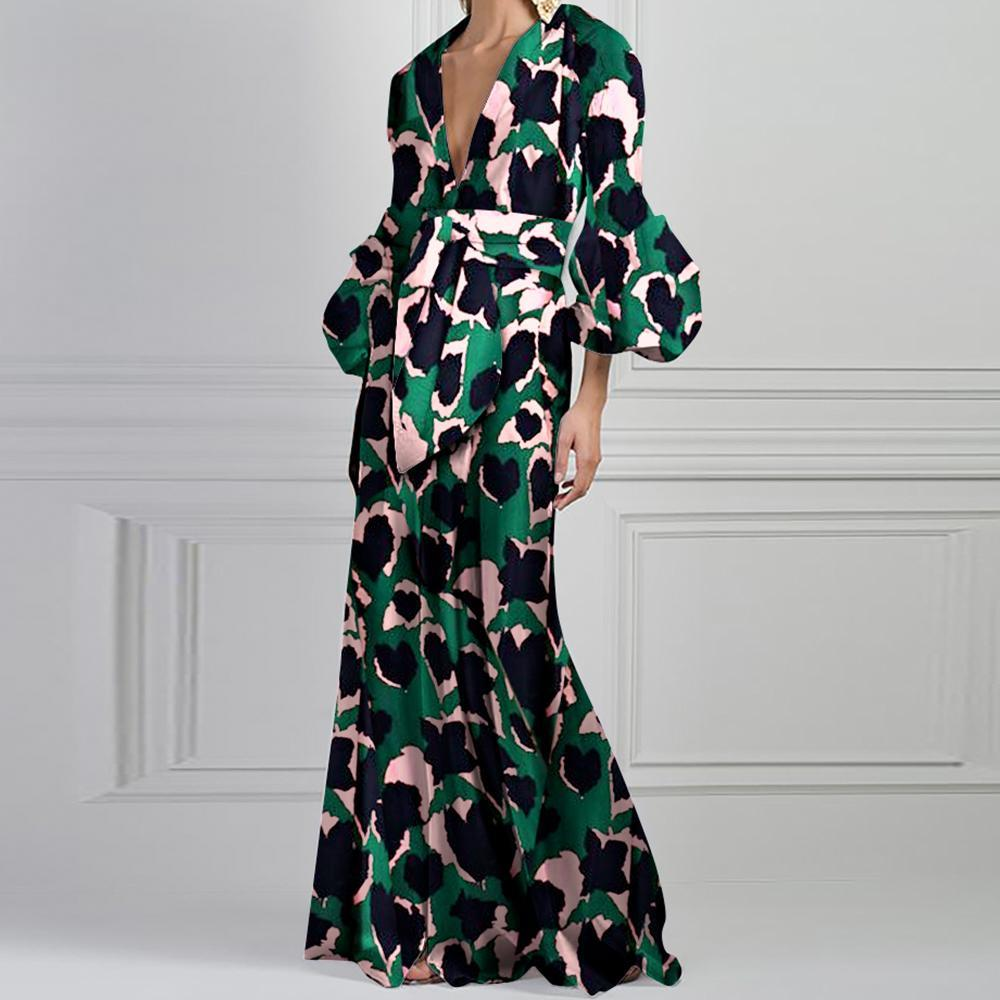 Green Vintage Floral Printed V-Neck Fashion Maxi Dress