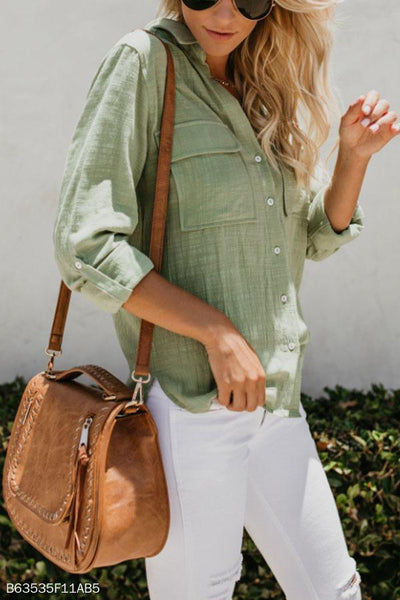 Turn Down Collar  Single Breasted  Pockets Plain Blouses