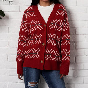 Christmas V-Neck Loose Button Coat