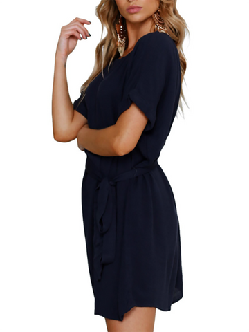 Crew Neck Cutout Lace-Up Belt Curved Hem Plain Roll-Up Sleeve Shift Dresses