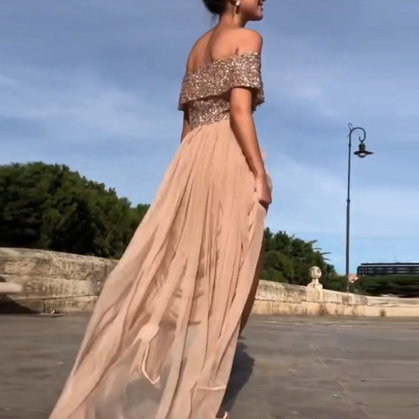 Sexy Off Shoulder Sequin Evening Dress