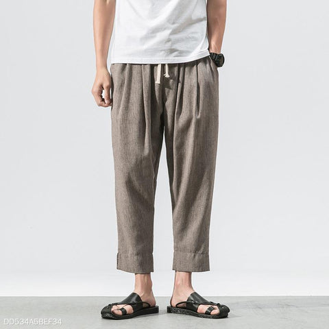 Fashion Youth Linen Plain Casual Ninth Pant