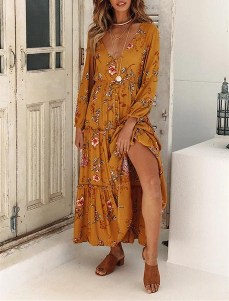 Yellow Printed Long-Sleeved Dress