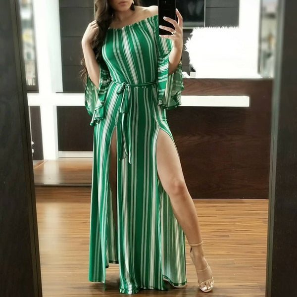 Fashion Elegant Nifty Strip Off Shoulder Flare Long Sleeve Fork Evening Dress