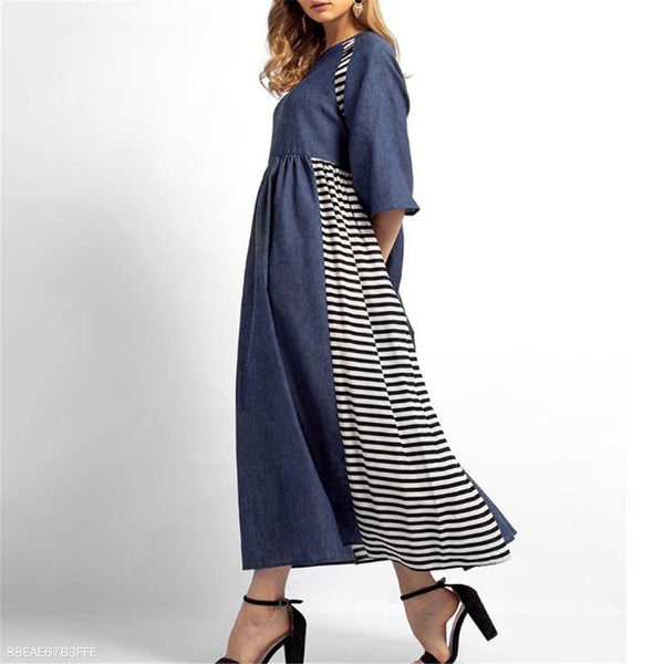 Fashion Vacation Casual Strip Side Round Neck Medium Sleeve Maxi Dress