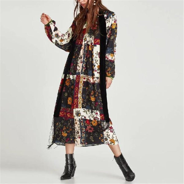 Vacation Fashion Retro Loose Floral Puff Long Sleeve Maxi Dress