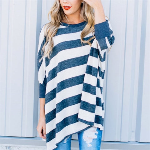 Striped Loose Bat Long Sleeve Round Neck Long T-Shirt