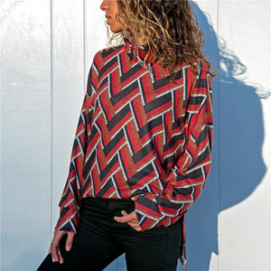 Geometric Printed Casual Long Sleeve High Collar Knit Top