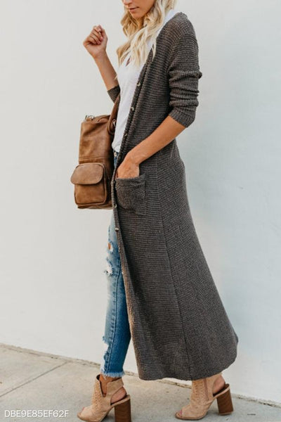Single Breasted  Draped Pocket  Plain Cardigans