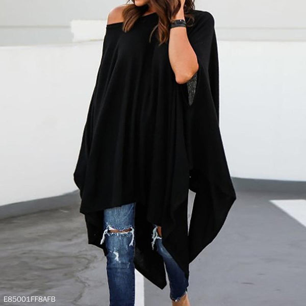 Loose Asymmetrical Hem Batwing Sleeve Blouse