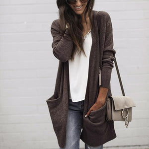 Loose Long Sleeve Pocket Plain Casual Cardigans
