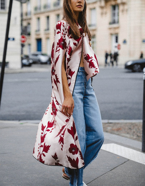 Red Printed Loose Sleeveless Shawl