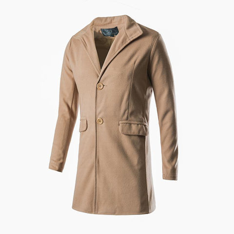 Fashion Button Woolen Packet Plain Long Coat