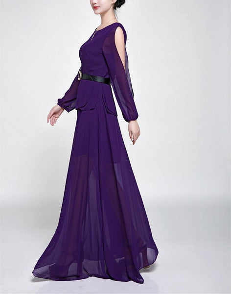 Round Neck High Waist Pure Colour Maxi Dress