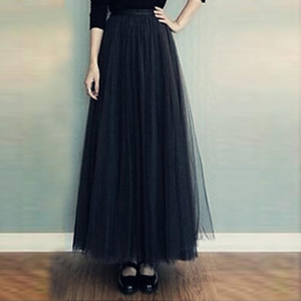 Elegant Noble Fashion Casual Vacation High Waist Bouffant Long Skirt