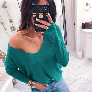 Sexy V Collar Long Sleeve Pit Strip Solid Color Loose Sweater