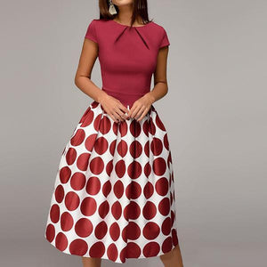 EBUYCHIC Round Neck Short Sleeve Big Polka Dot Printed Skater Dress