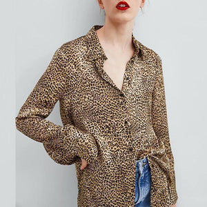 Fashion Lapel Leopard Printed Long Sleeve Blouses