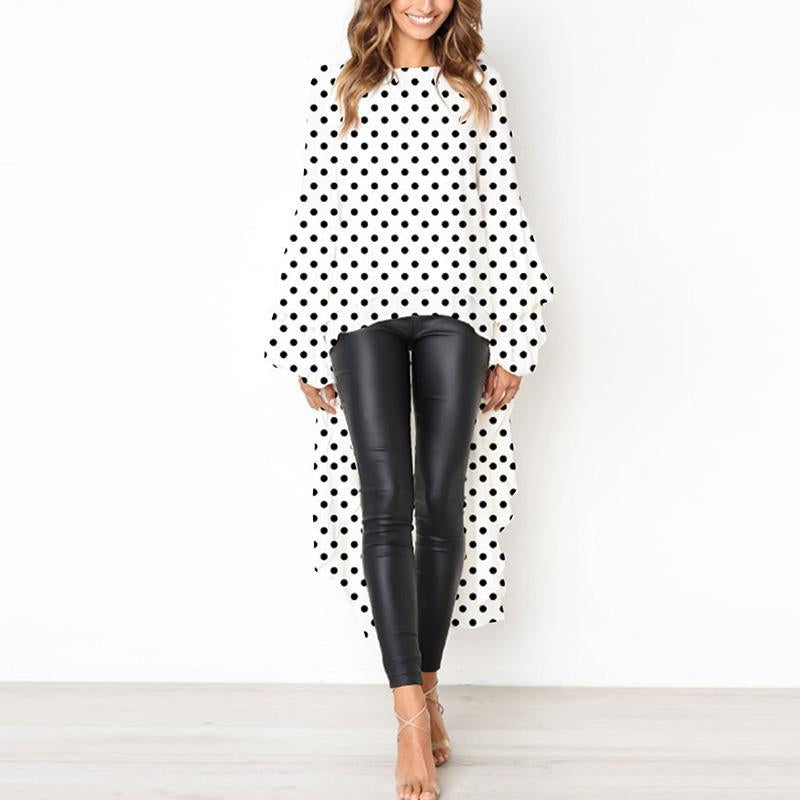 Round Neck  Asymmetric Hem  Plain  Lantern Sleeve Blouse