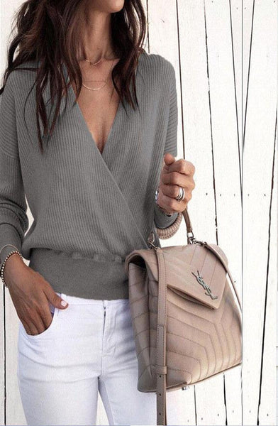 Autumn And Winter Plain V-Neck Long Sleeve Sweater