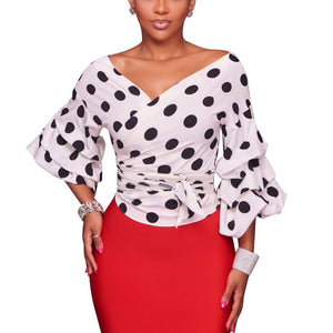 Sexy V-Neck Wave Dot Lantern Sleeve Shirt