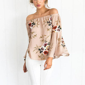 Sexy Off-Shoulder Printed Colour Trumpet Long Sleeved Blouse