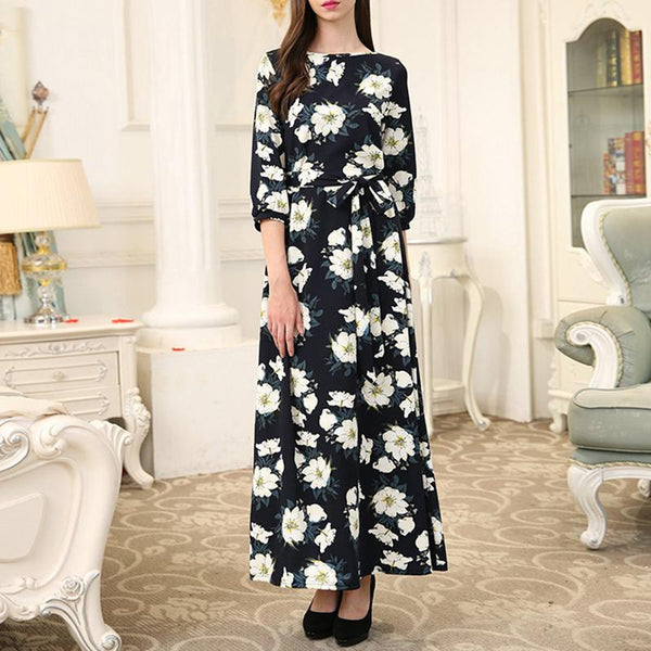 Fashion Round Neck Print Maxi Dress