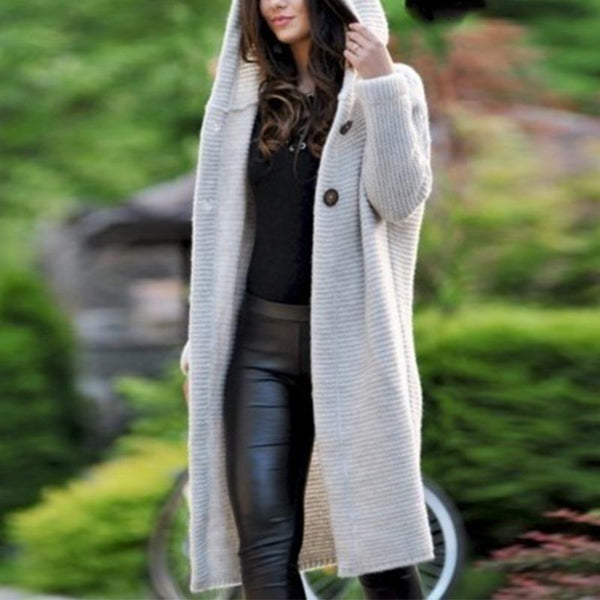 Hooded Long Sleeve Button Plain Casual Cardigans Outwear