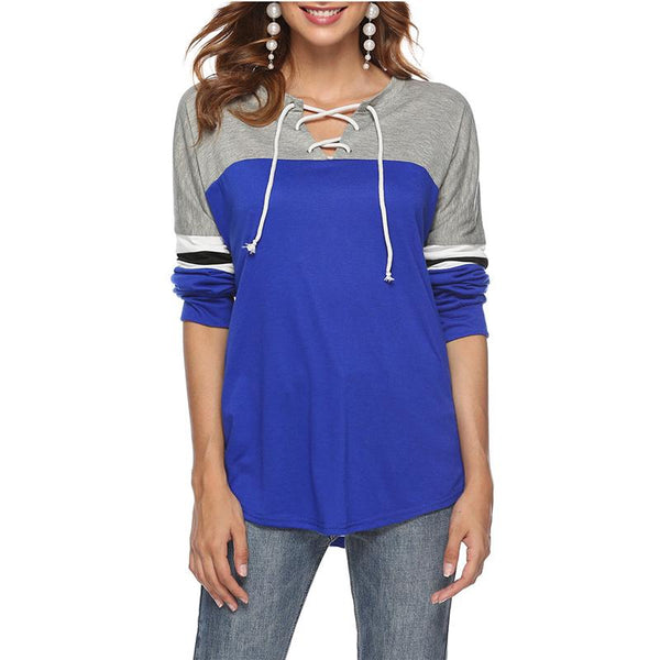 Casual Contrast Color   Long Sleeve Top