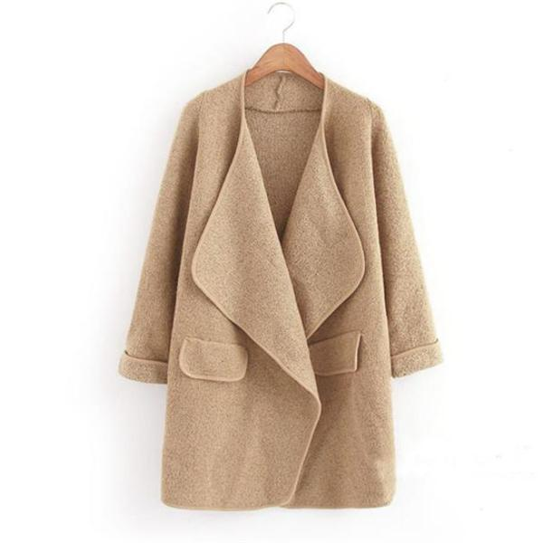 Stylish Elegant Chic Loose Plain V Collar Long Sleeve Coat Cardigan