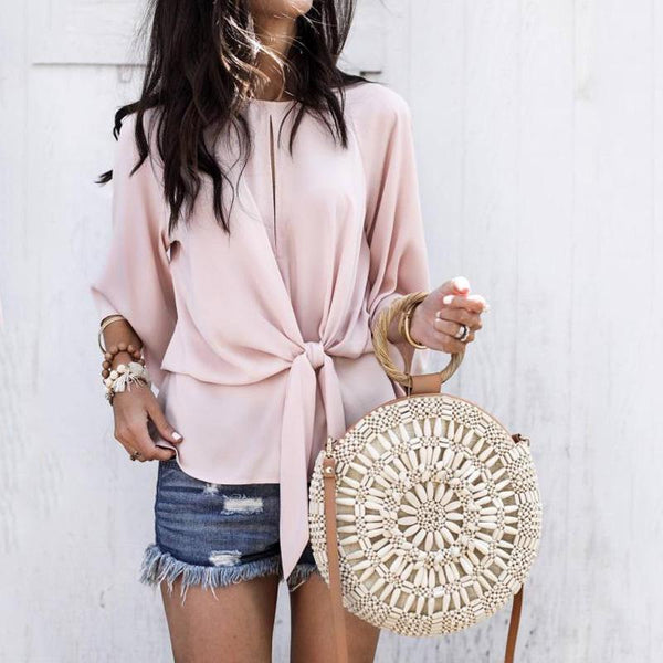 Fashionable Hollow Round Collar Pure Color Band Top