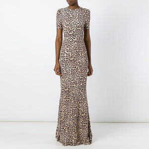 Elegant Round Neck   Short Sleeve Leopard Print  Fashion Maxi Dress