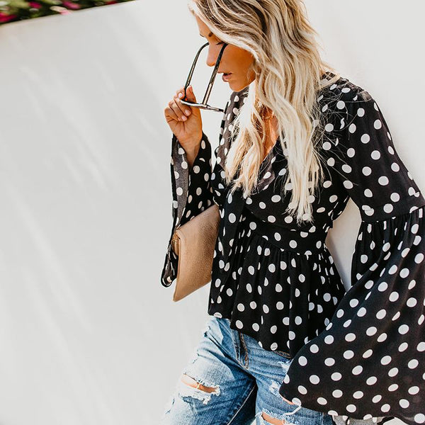 Fashion Polka Dot   Printed Bell Sleeve Blouse