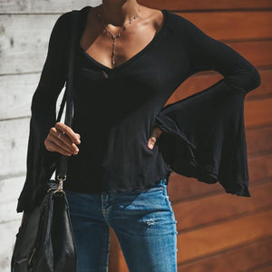 Sexy V-Neck Plain Sleeved Shirt With Lotus Leaf