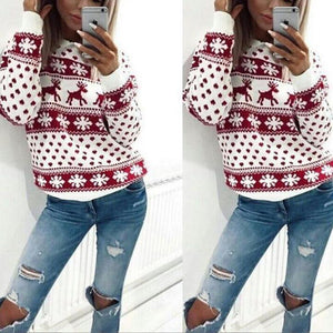 Autumn Winter Clothing Fawn Print Christmas Shirt