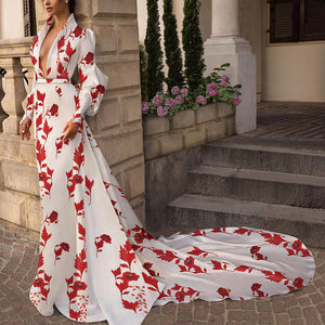 Fashion V Collar Long-Sleeved Printing Hollow Out On The Back Maxi Dress