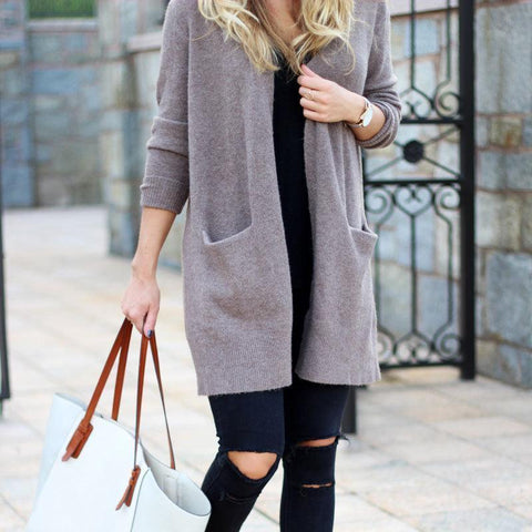 Fashion Casual Loose Plain Packet Long Coat