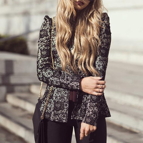 Round Neck Long Sleeve Slim Versatile Lace Coat