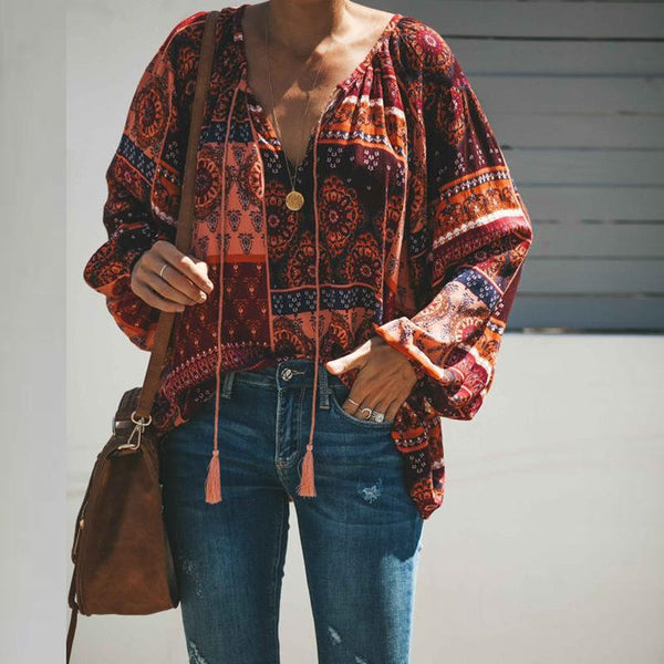 Fashionable V-Neck Printed Long-Sleeve Shirt