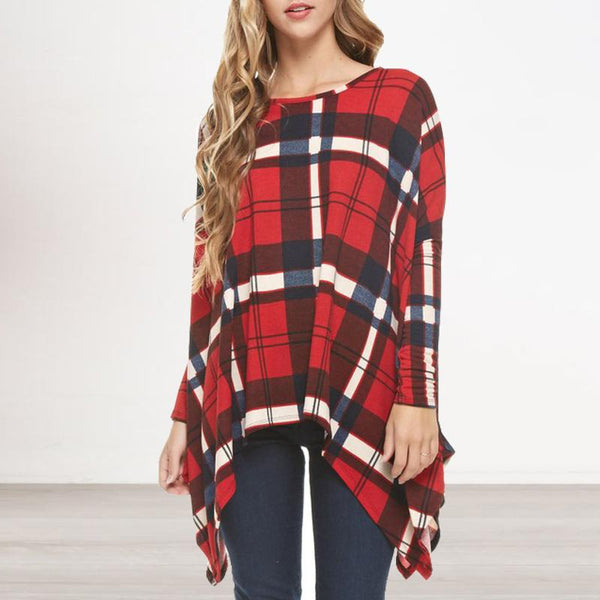 Fashion Round Neck   Long Sleeve Plaid Printed Blouse