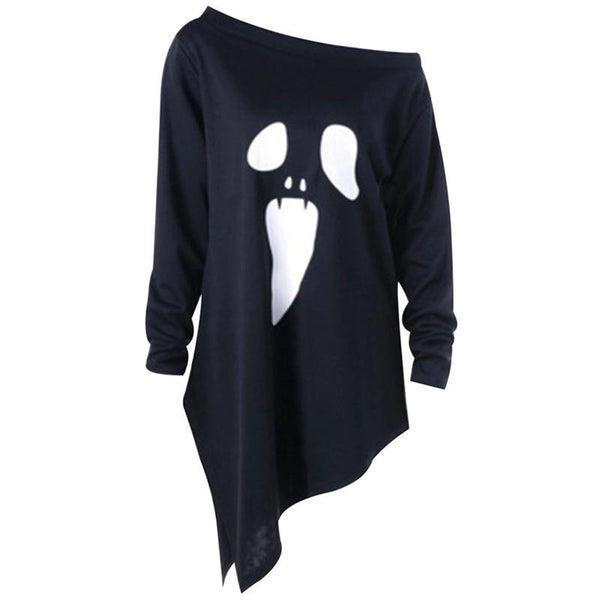 Halloween Ghost Print   Long Irregular Diagonal Top