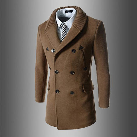 Fashion Lapel Slim Fit Knit Button Long Coat