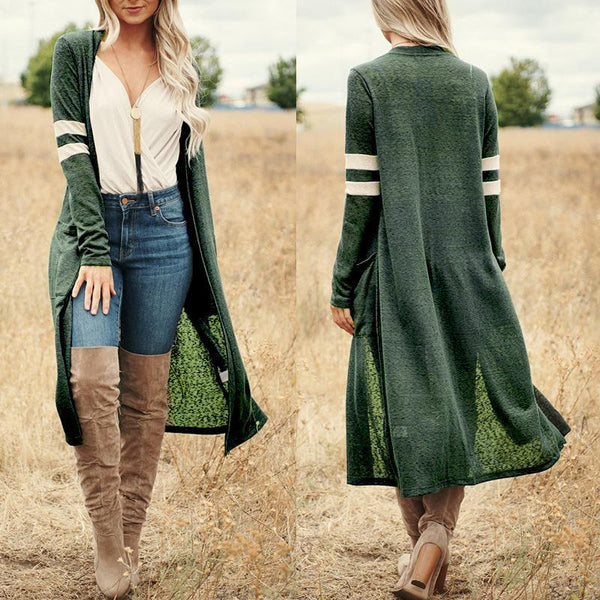 Fashion Color Blocking Knit Thin Long  Coat