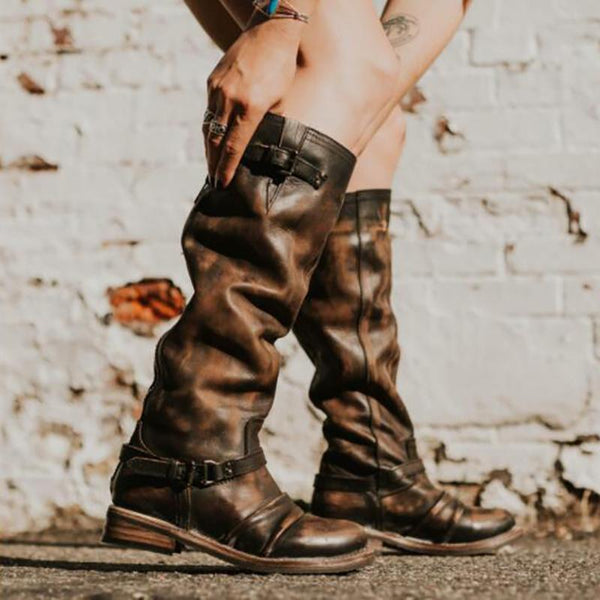 Vintage Side With Low Heel Joker High Boots