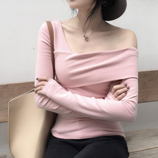 Sexy Sloping Shoulder   Pure Colour Long Sleeve  Top