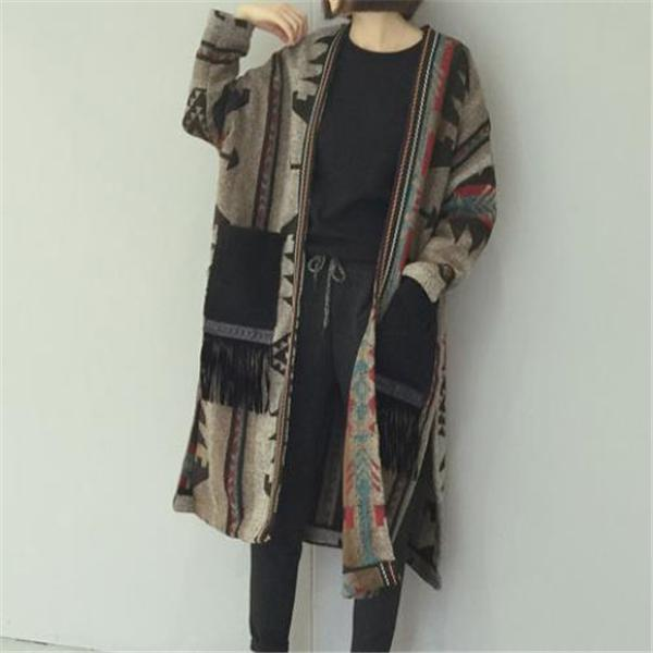 Elegant Fashion Casual Loose Print Long Sleeve Coat Long Cardigan